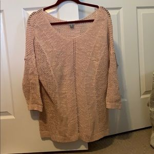 Light Pink Blush Crochet Sweater Quarter Sleeve